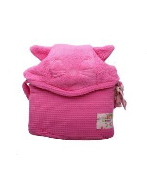 Βρεφική Πετσέτα με κουκούλα, Pink Cat