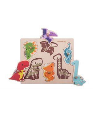 Ξύλινο Puzzle Σφηνώματα, Dinosaur