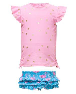 Μπλούζα & μαγίο με προστασία UV, Flamingo Star Set