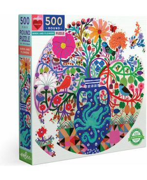 ROUND PUZZLE 500pcs , BIRDS AND FLOWERS