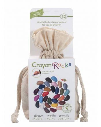 Crayon Rocks, 32 χρώματα σε λευκό βαμβακερό πουγκί