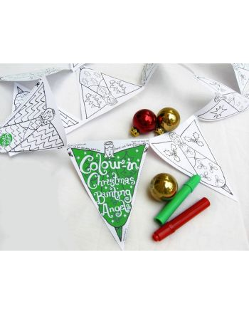 Color-in Bunting, Christmas Angels