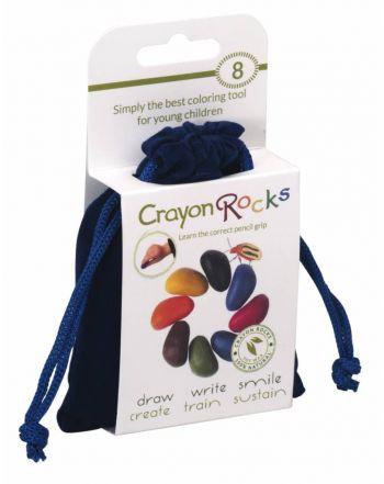 Crayon Rocks, 8 χρώματα σε μπλε βελούδινο πουγκί