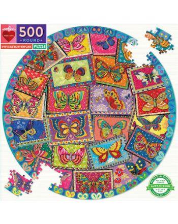 ROUND PUZZLE 500pcs ,VINTAGE BUTTERFLIES