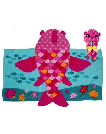 Παιδική πετσέτα με κουκούλα, Pink Fish