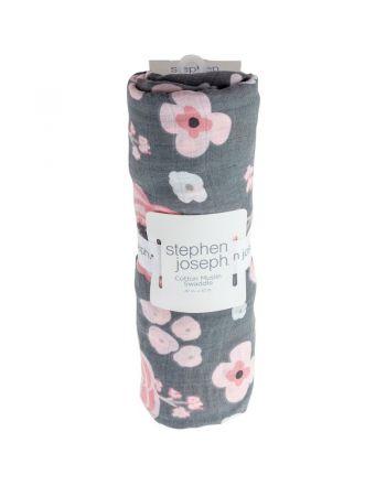 Βρεφική Κουβέρτα Μουσελίνα, Charcoal Floral